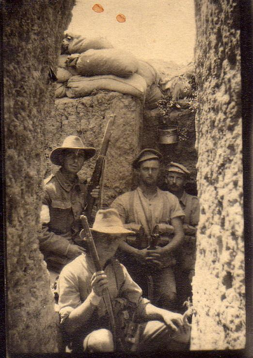 Australian soldiers in the trenches