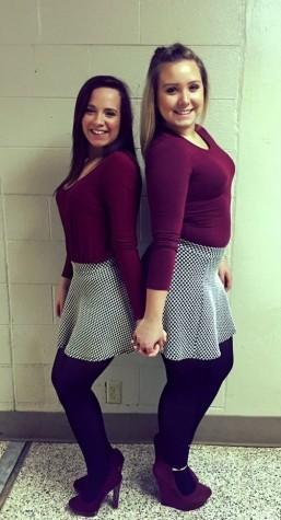 Lindsay Gray (12) and Alyssa Hendrickson (12) wearing matching outfits.