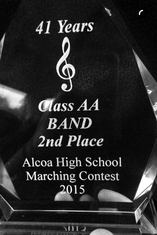 The Lenoir City High School Marching Band placed second at the Alcoa High School Marching Contest.