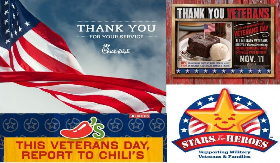 Chick-fil- a, Chili's, Cracker Barrel, and Hardees' post deals on Veteran's Day.