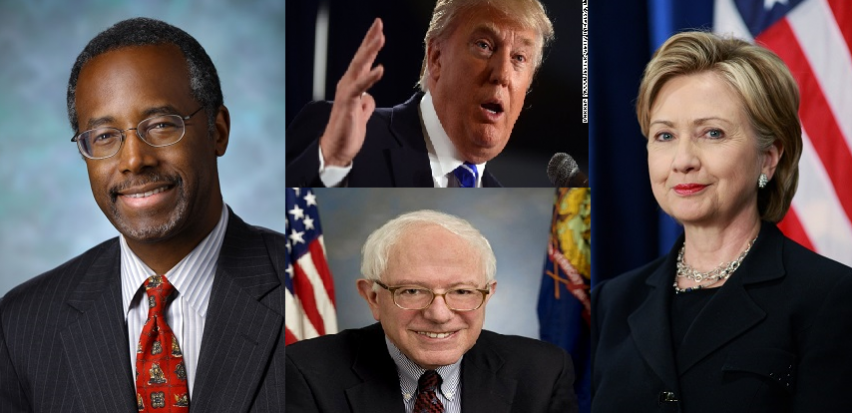 Ben Carson (R), Donald Trump (R), Hillary Clinton (D), and Bernie Sanders (D); the four main candidates for the upcoming election.