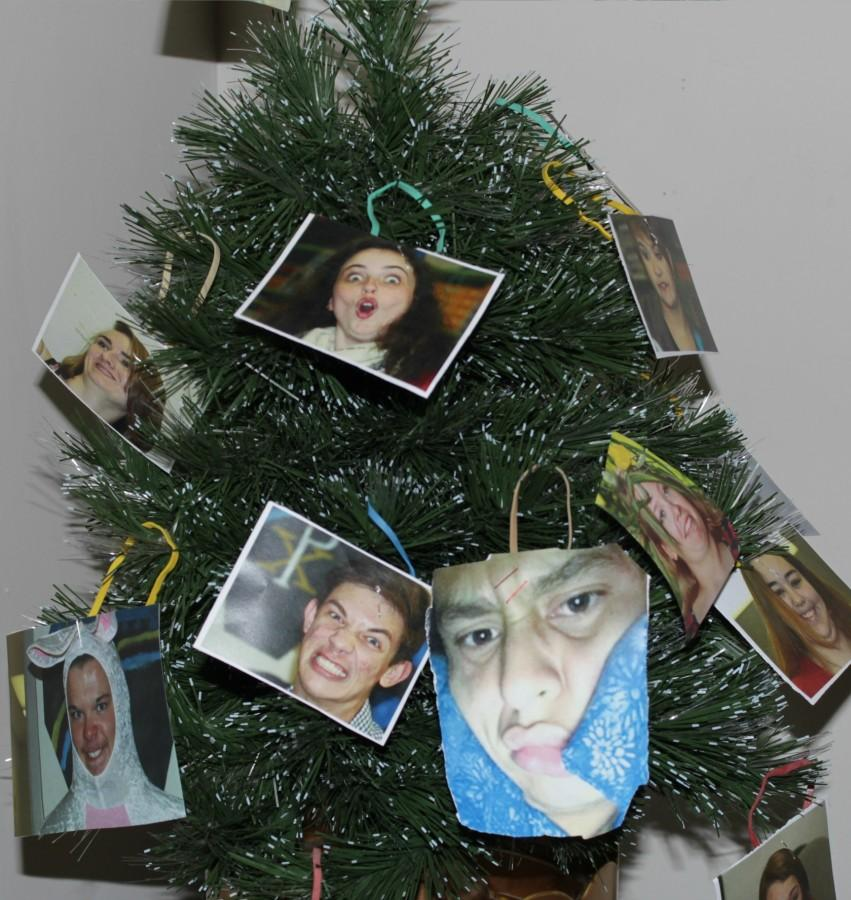 The Journalism Staff celebrates the holidays with a Christmas tree, decorated with our