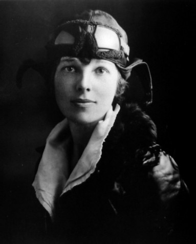Amelia Earhart in her flight gear.