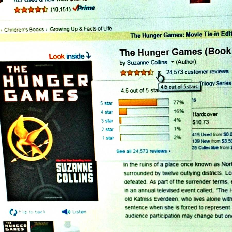 Star reviews of 'The Hunger Games' on Amazon.   http://www.amazon.com/The-Hunger-Games-Book-1/dp/0439023521?scrlybrkr