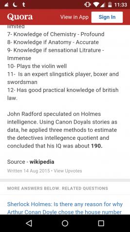 Sherlock Holmes strengths.