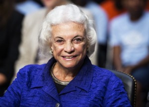 "UNITED STATES - JULY 25: Former Supreme Court Justice Sandra Day O'Connor testifies during the Senate Judiciary Committee hearing on ""Ensuring Judicial Independence Through Civics Education"" on Wednesday, July 25, 2012. (Photo By Bill Clark/CQ Roll Call)"