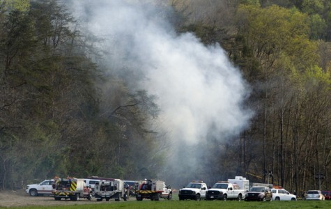 Emergency vehicles on the scene after a helicopter crashes in Pigeon Forge.
