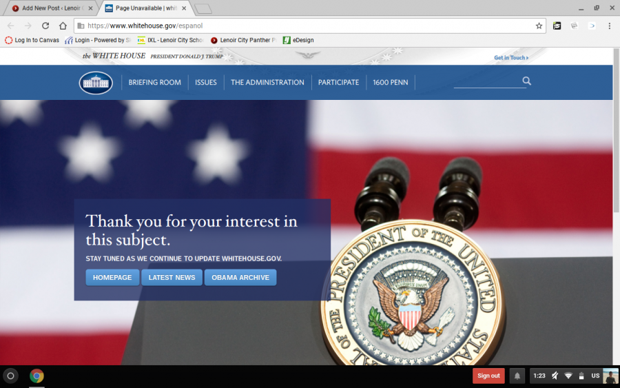 The Website www.whitehouse.gov/espanot available yet.