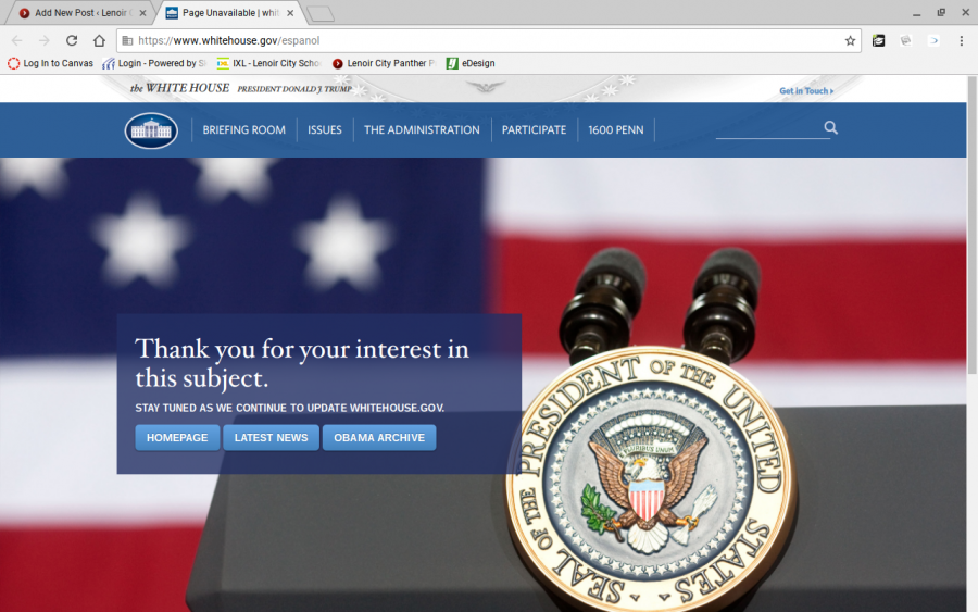 Screenshot of the White House's website in Spanish. All of the content is gone.