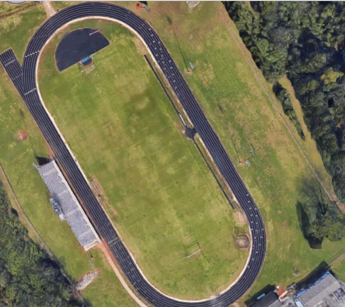 An overhead view of the track at LCMS.