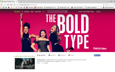 Screenshot of 'The Bold Type's homepage on Hulu, a streaming service. All ten episodes of the first season are up and it is not known if there will be a second season or if it will go up on Netflix, another streaming service.