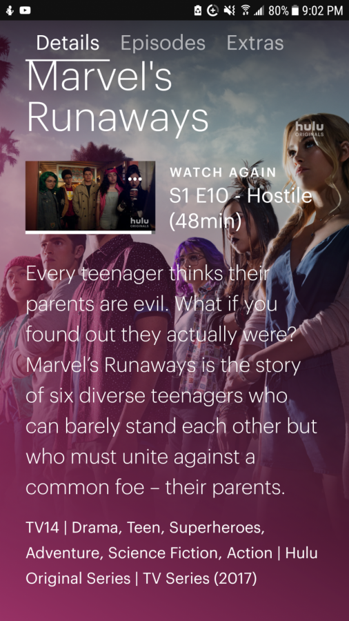 The+Hulu+page+for+%22Marvel%27s+Runaways%22%2C+featuring+the+synopsis+and+promotional+picture+for+the+show.
