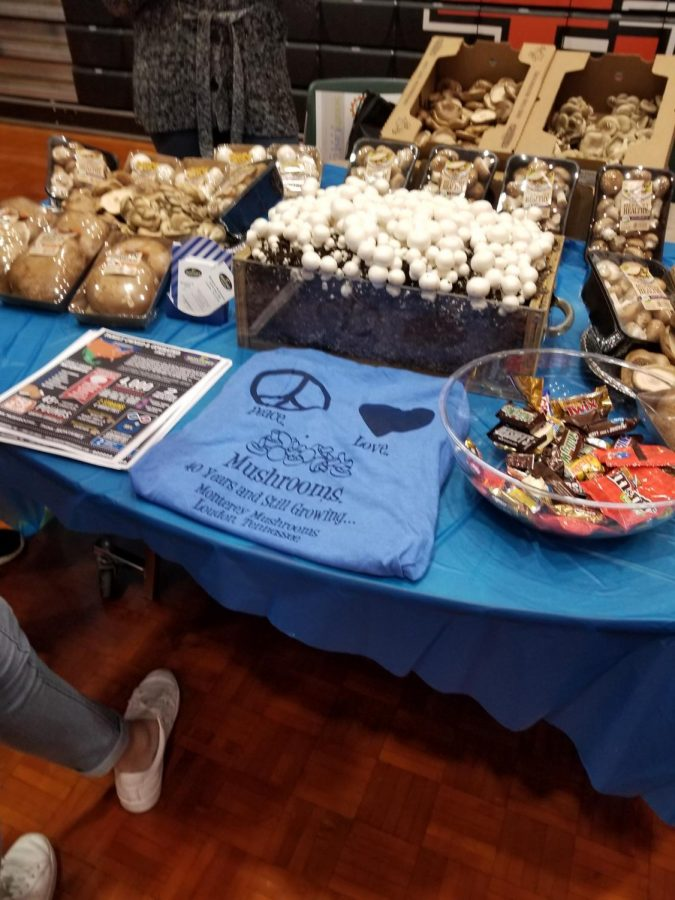One of the manufacturers' tables at the expo: Monterey Mushrooms.